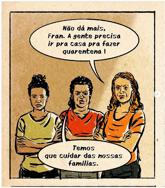 Tirinha sobre trabalhadoras domesticas de Leandro Assis